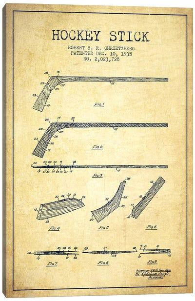 Hockey Stick Vintage Patent Blueprint Canvas Art Print