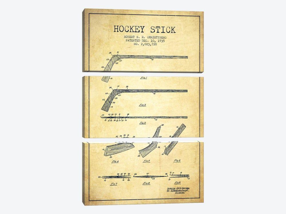 Hockey Stick Vintage Patent Blueprint by Aged Pixel 3-piece Canvas Art Print