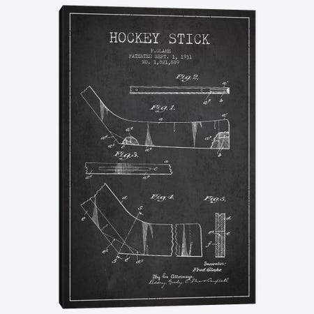 Hockey Stick Charcoal Patent Blueprint Canvas Print #ADP383} by Aged Pixel Canvas Art