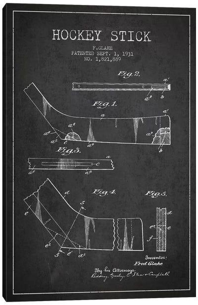 Hockey Stick Charcoal Patent Blueprint Canvas Print #ADP383