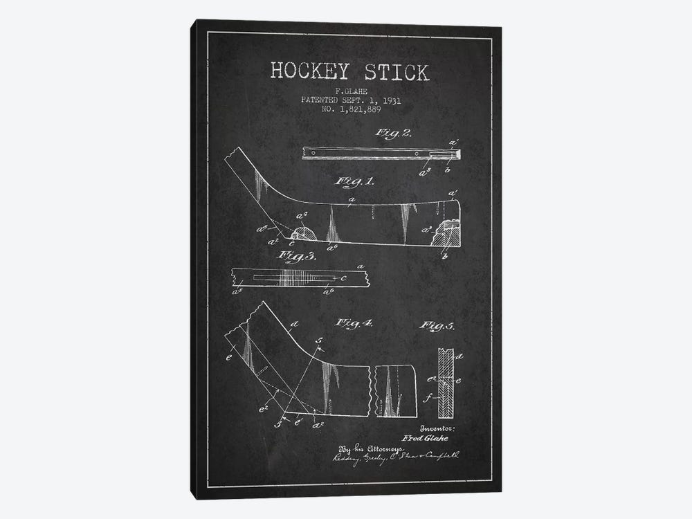 Hockey Stick Charcoal Patent Blueprint by Aged Pixel 1-piece Canvas Art