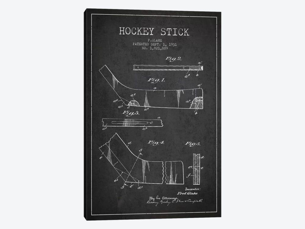 Hockey Stick Charcoal Patent Blueprint by Aged Pixel 1-piece Canvas Art