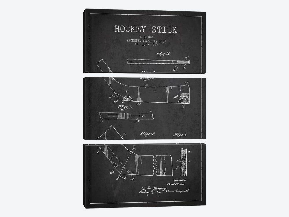 Hockey Stick Charcoal Patent Blueprint by Aged Pixel 3-piece Canvas Art