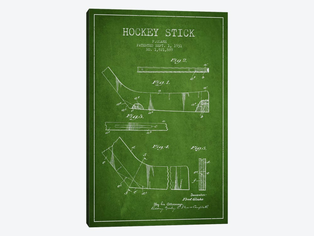 Hockey Stick Green Patent Blueprint by Aged Pixel 1-piece Art Print