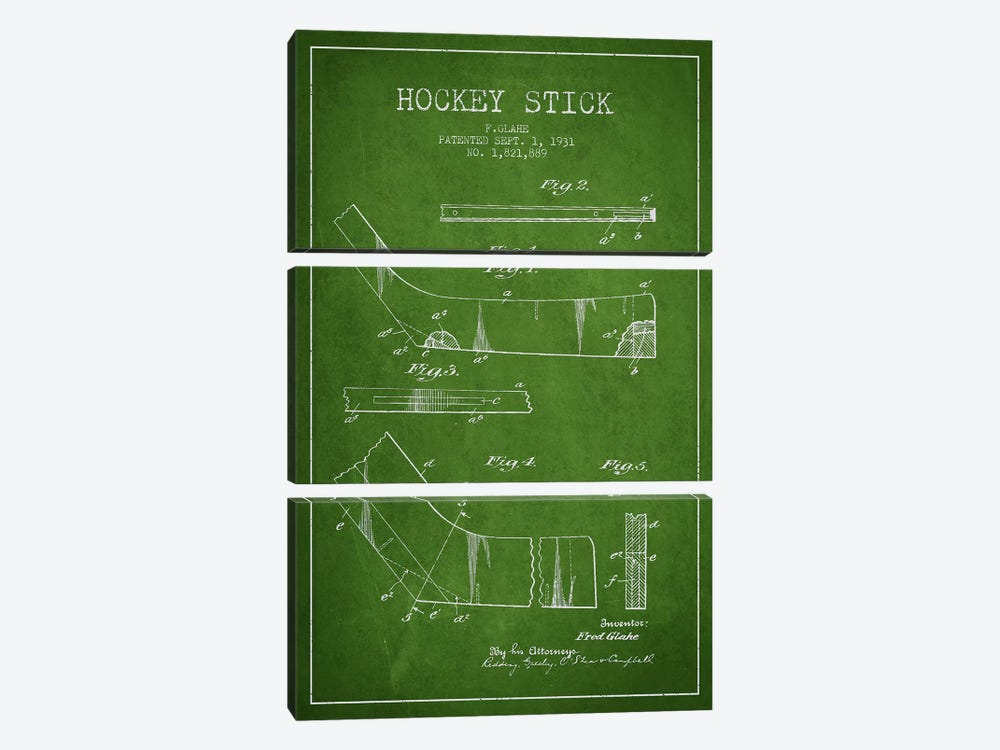 Hockey Stick Green Patent Blueprint by Aged Pixel 3-piece Canvas Art Print