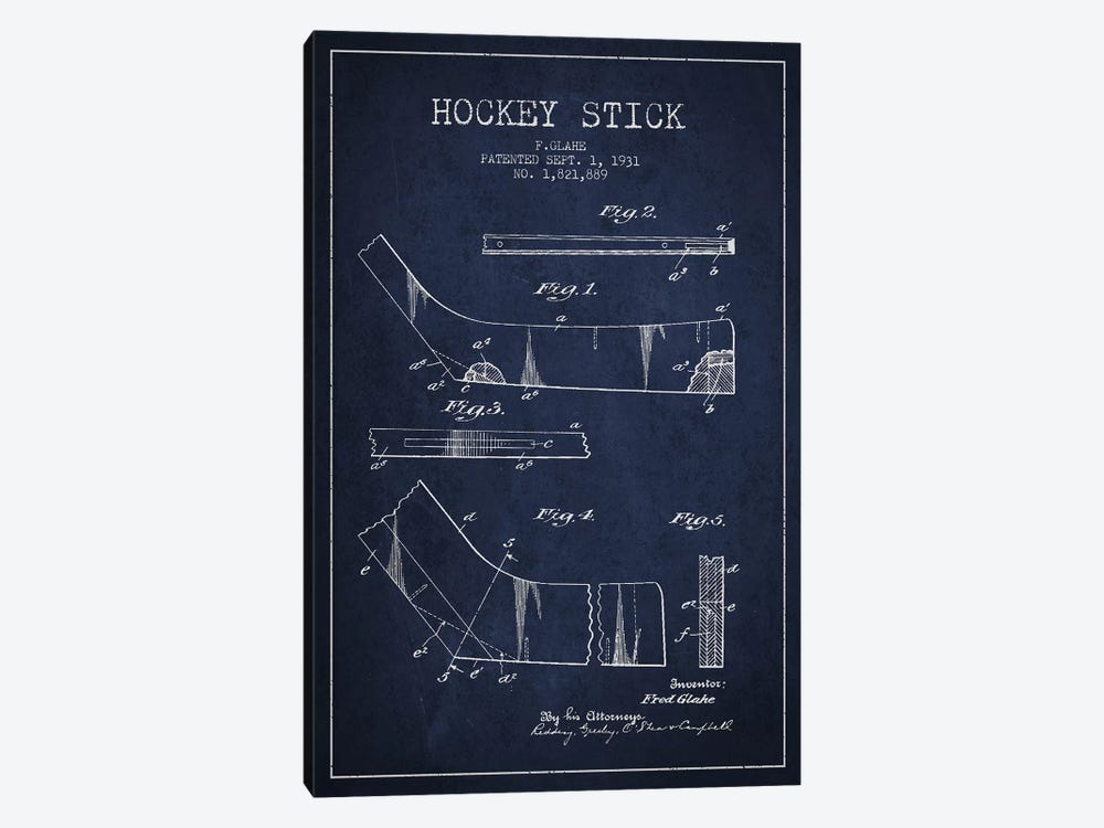 Hockey Stick Navy Blue Patent Blueprint by Aged Pixel 1-piece Canvas Artwork