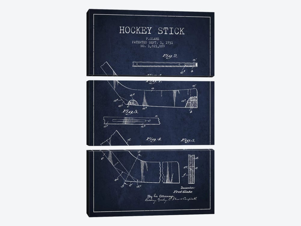 Hockey Stick Navy Blue Patent Blueprint by Aged Pixel 3-piece Canvas Wall Art