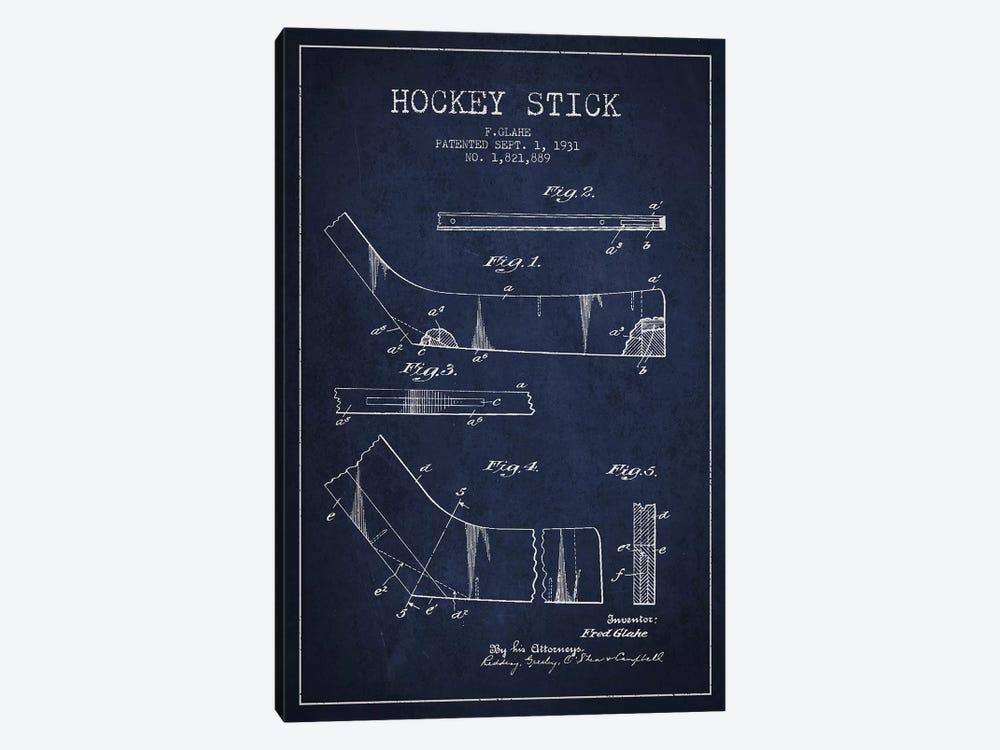 Hockey Stick Navy Blue Patent Blueprint by Aged Pixel 1-piece Canvas Artwork