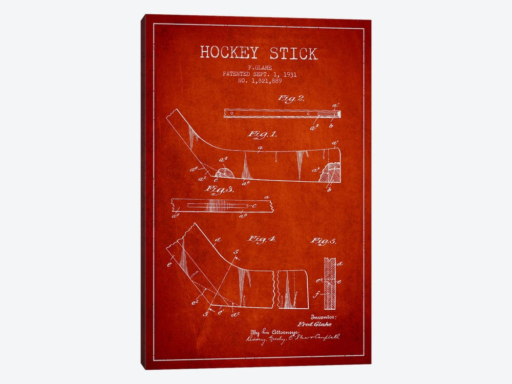 Hockey Stick Red Patent Blueprint by Aged Pixel 1-piece Art Print