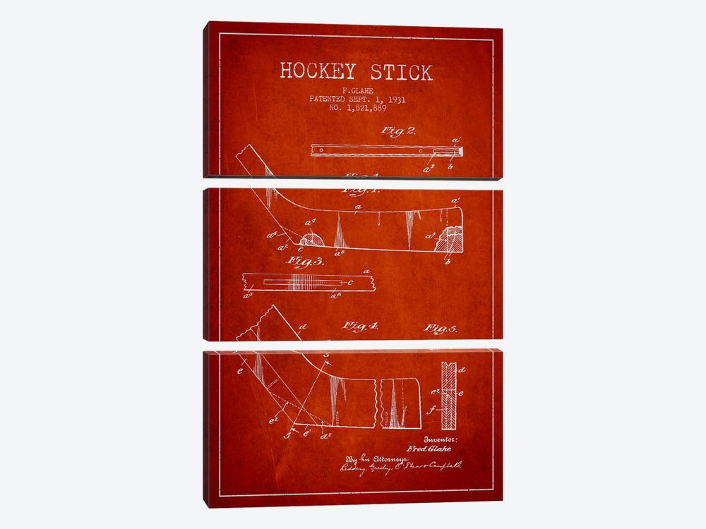Hockey Stick Red Patent Blueprint by Aged Pixel 3-piece Art Print
