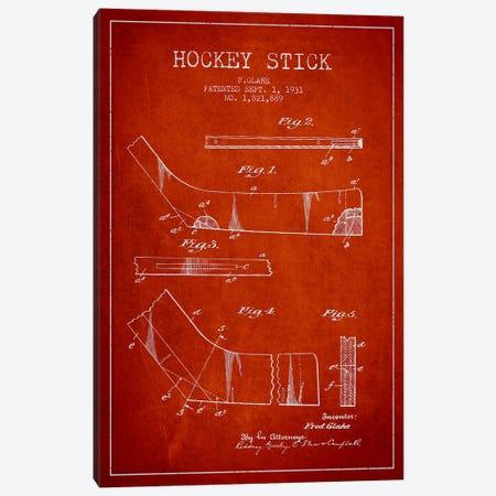 Hockey Stick Red Patent Blueprint Canvas Print #ADP386} by Aged Pixel Art Print