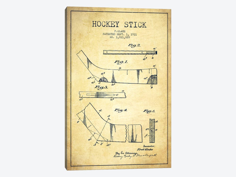 Hockey Stick Vintage Patent Blueprint by Aged Pixel 1-piece Canvas Art