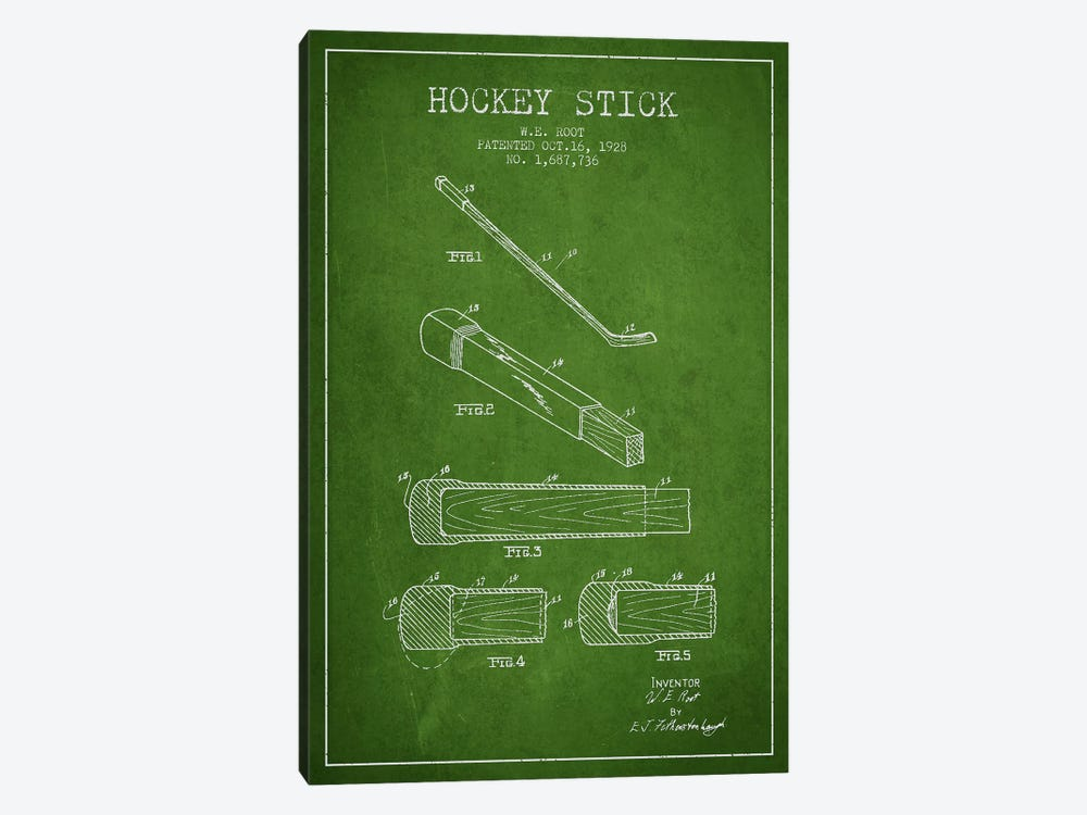 Hockey Stick Green Patent Blueprint by Aged Pixel 1-piece Canvas Artwork