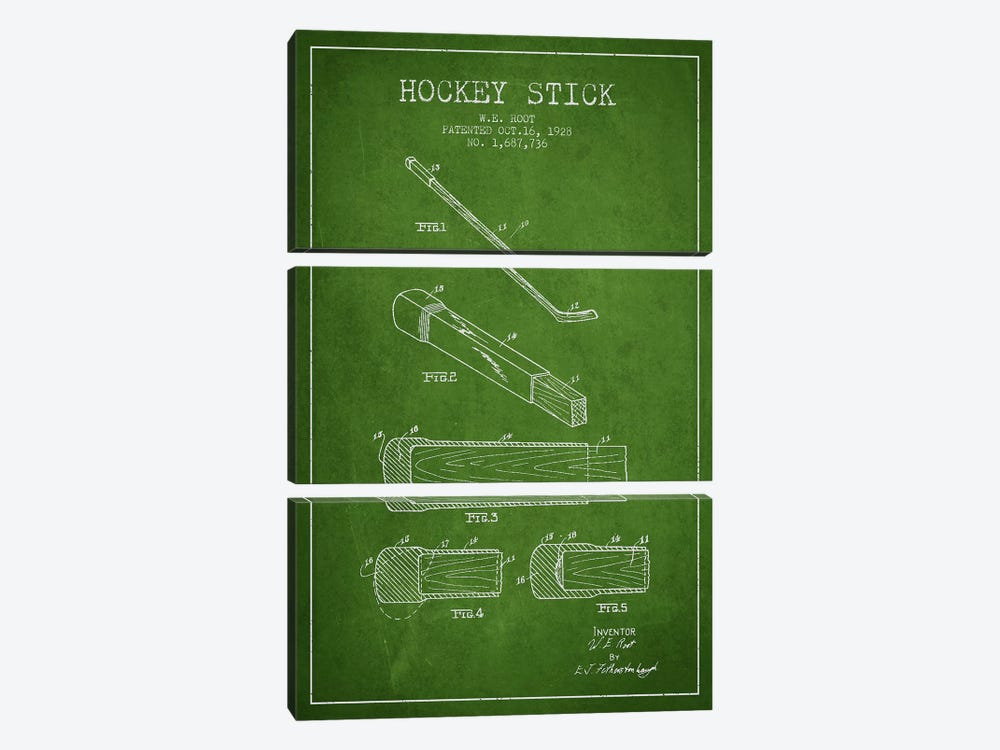 Hockey Stick Green Patent Blueprint by Aged Pixel 3-piece Canvas Artwork