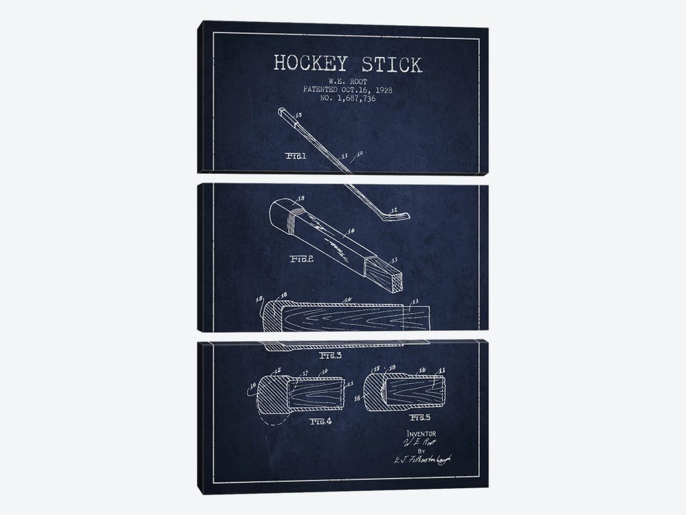 Hockey Stick Navy Blue Patent Blueprint by Aged Pixel 3-piece Canvas Artwork