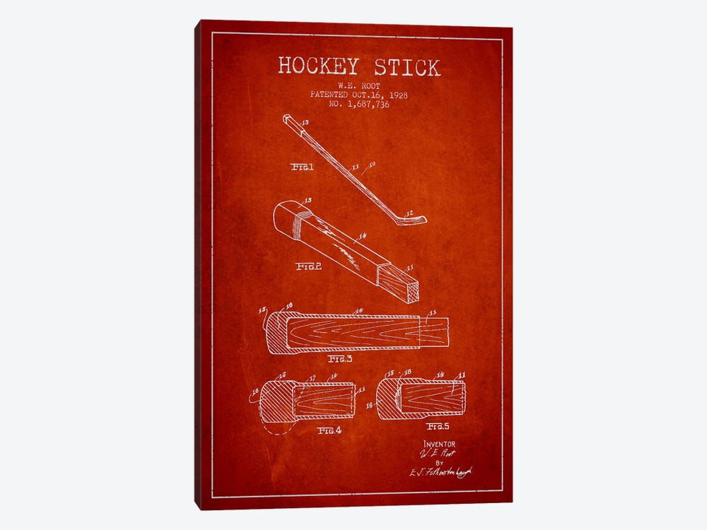 Hockey Stick Red Patent Blueprint by Aged Pixel 1-piece Canvas Print