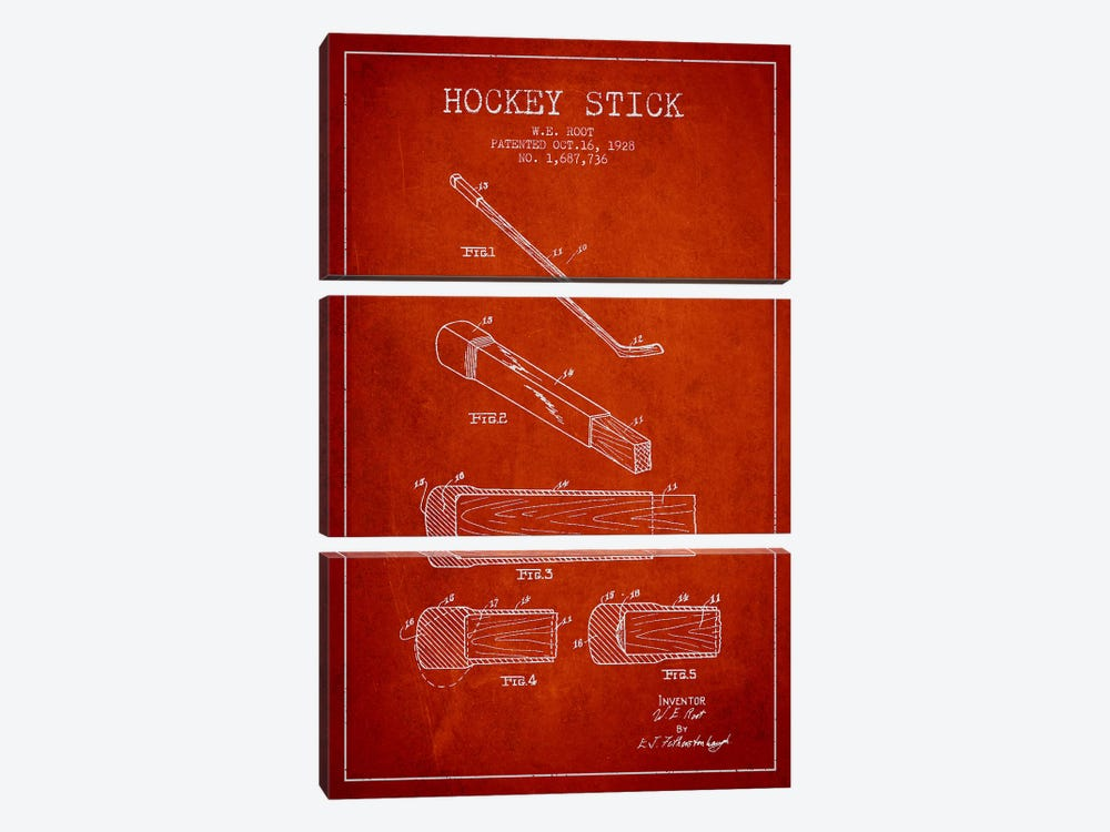 Hockey Stick Red Patent Blueprint by Aged Pixel 3-piece Canvas Print