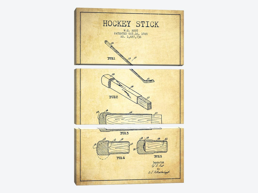 Hockey Stick Vintage Patent Blueprint by Aged Pixel 3-piece Canvas Wall Art