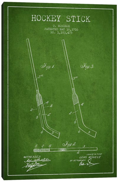 Hockey Stick Green Patent Blueprint Canvas Art Print