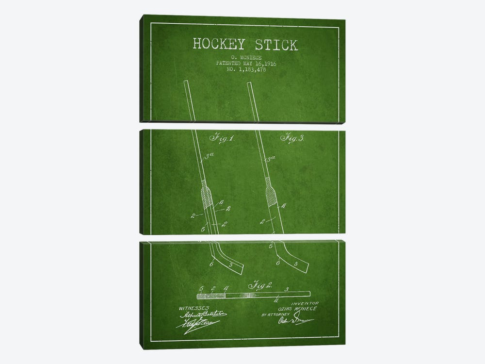 Hockey Stick Green Patent Blueprint by Aged Pixel 3-piece Canvas Art