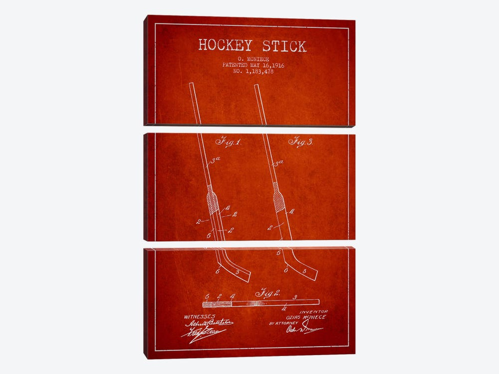 Hockey Stick Red Patent Blueprint by Aged Pixel 3-piece Canvas Wall Art