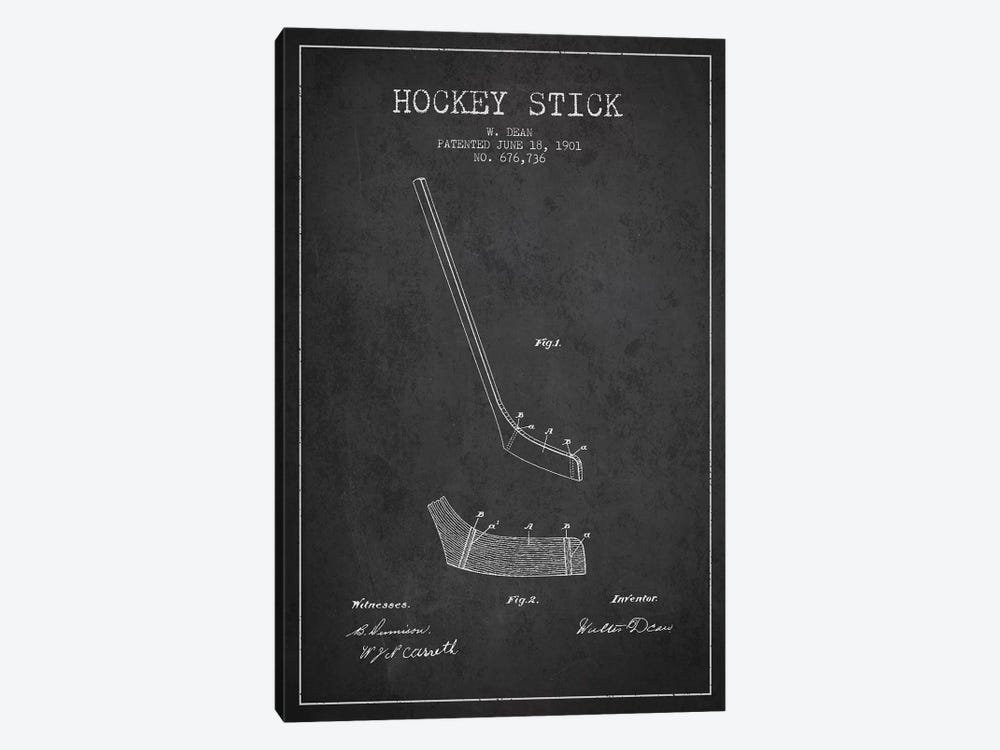 Hockey Stick Charcoal Patent Blueprint by Aged Pixel 1-piece Canvas Artwork