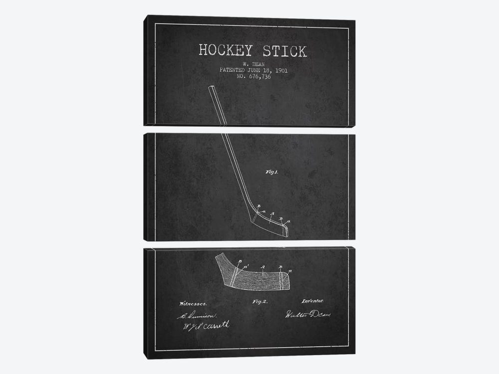 Hockey Stick Charcoal Patent Blueprint by Aged Pixel 3-piece Canvas Art