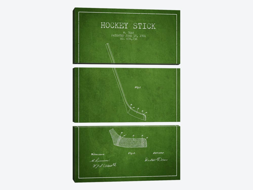 Hockey Stick Green Patent Blueprint by Aged Pixel 3-piece Canvas Print