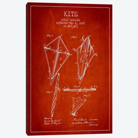 Kite Red Patent Blueprint Canvas Print #ADP39} by Aged Pixel Art Print