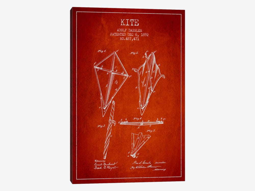 Kite Red Patent Blueprint by Aged Pixel 1-piece Canvas Art Print