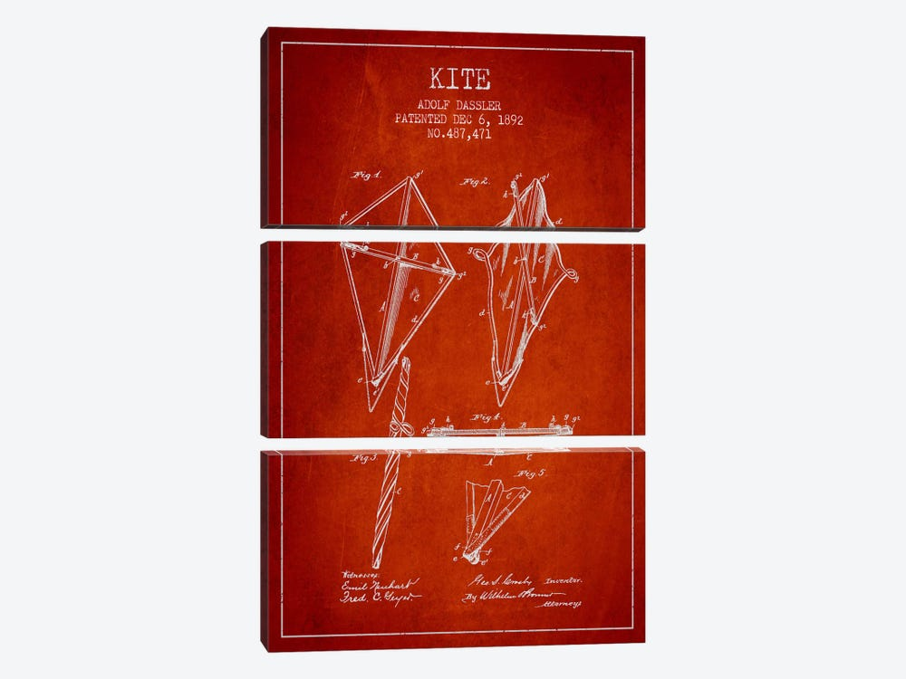 Kite Red Patent Blueprint by Aged Pixel 3-piece Canvas Print