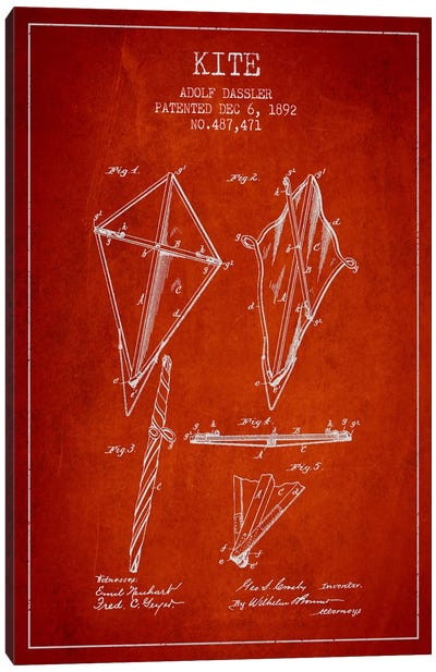 Kite Red Patent Blueprint Canvas Art Print