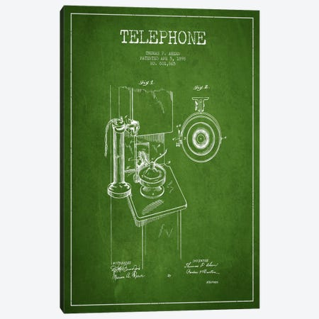 Ahern Telephone Green Patent Blueprint Canvas Print #ADP3} by Aged Pixel Canvas Art Print