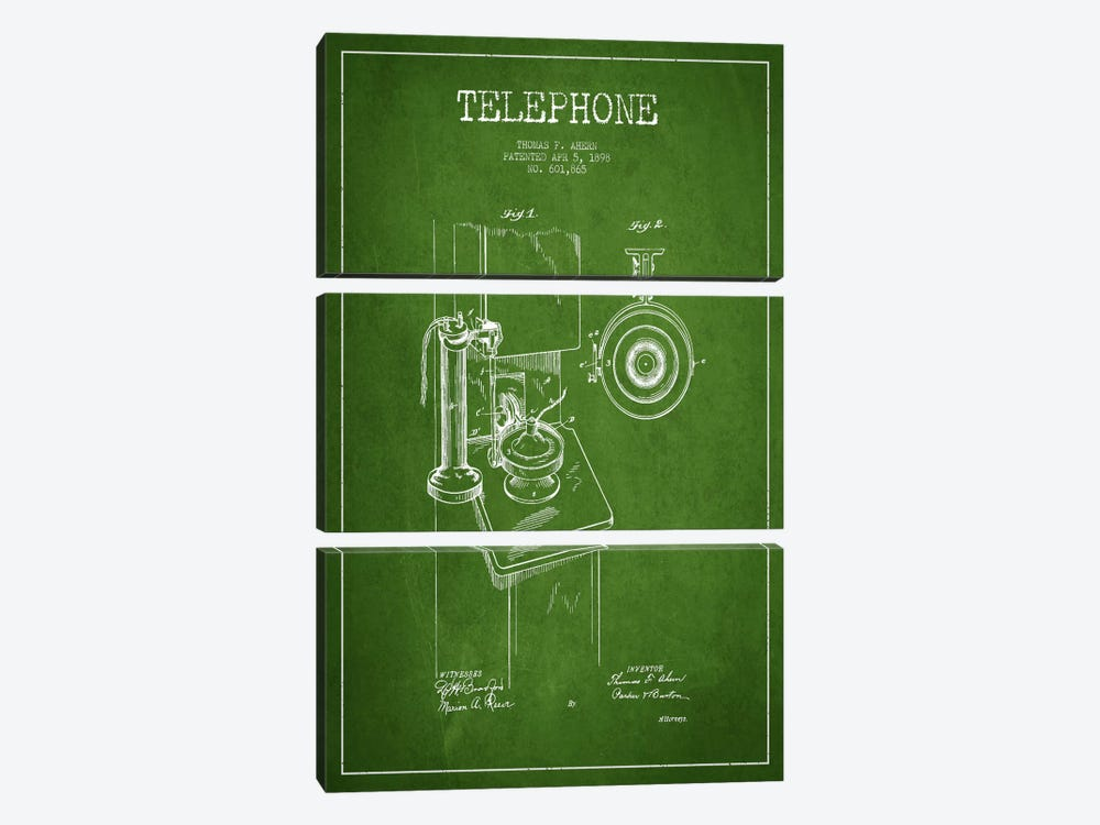 Ahern Telephone Green Patent Blueprint by Aged Pixel 3-piece Canvas Print
