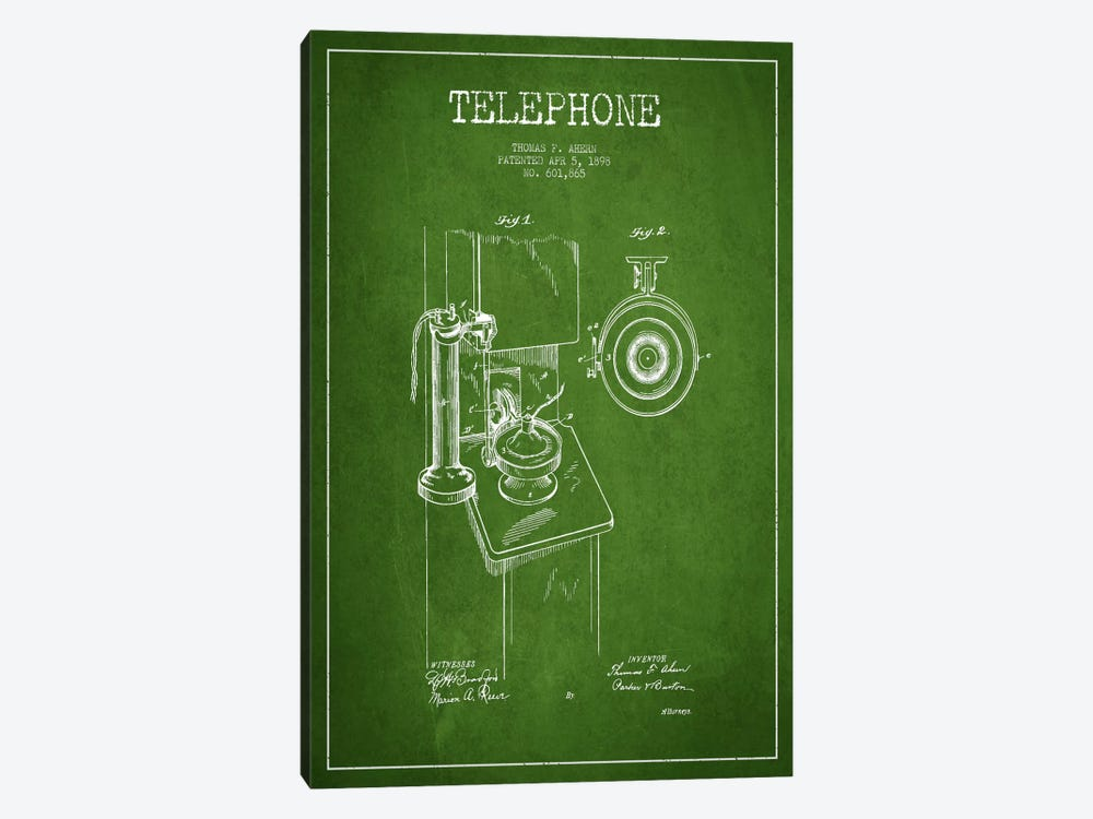Ahern Telephone Green Patent Blueprint by Aged Pixel 1-piece Canvas Art Print