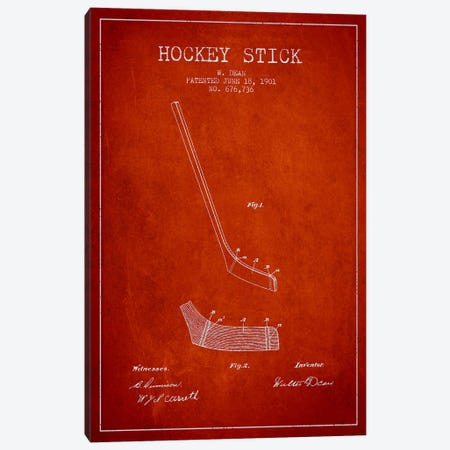Hockey Stick Red Patent Blueprint Canvas Print #ADP401} by Aged Pixel Art Print