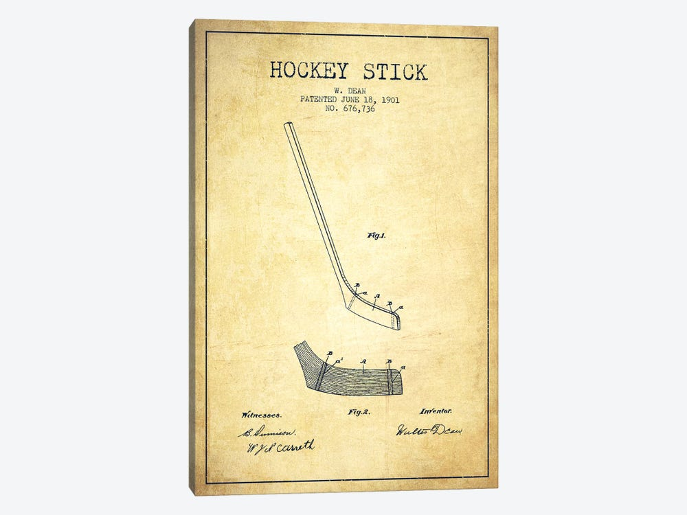 Hockey Stick Vintage Patent Blueprint by Aged Pixel 1-piece Canvas Wall Art