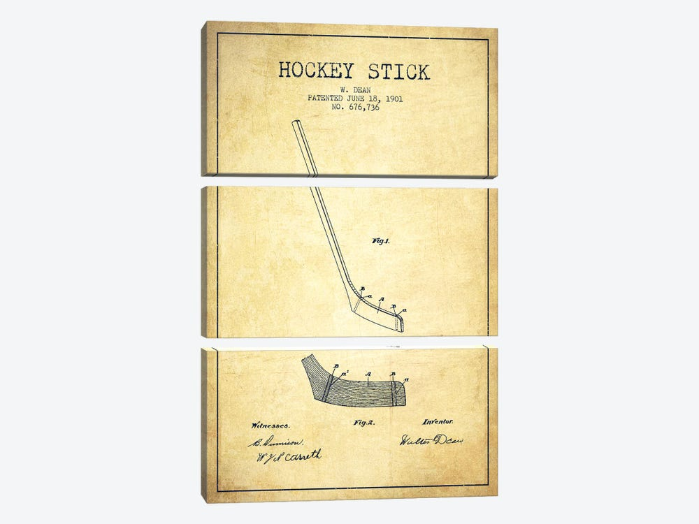 Hockey Stick Vintage Patent Blueprint by Aged Pixel 3-piece Canvas Art