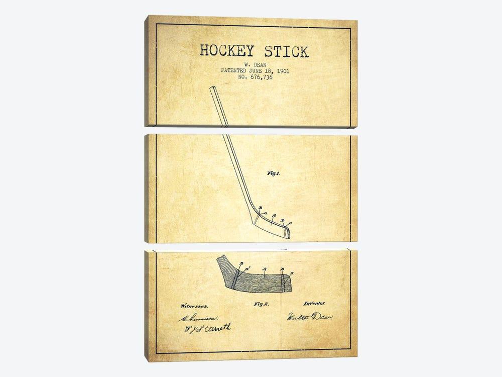 Hockey Stick Vintage Patent Blueprint by Aged Pixel 3-piece Canvas Art