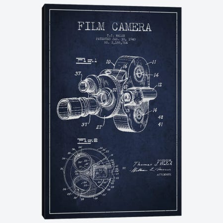 Camera Navy Blue Patent Blueprint Canvas Print #ADP403} by Aged Pixel Art Print