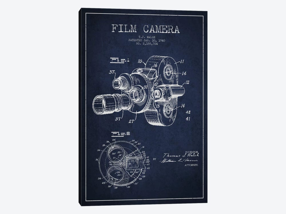 Camera Navy Blue Patent Blueprint 1-piece Canvas Art Print