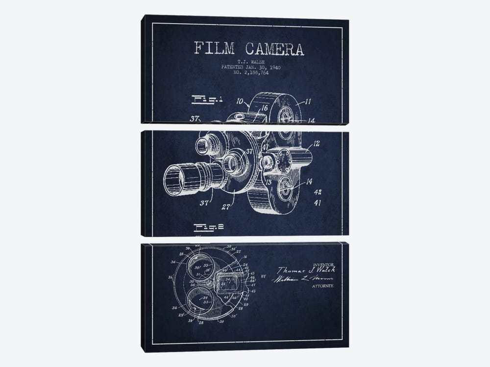Camera Navy Blue Patent Blueprint by Aged Pixel 3-piece Canvas Art Print