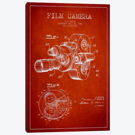 Camera Red Patent Blueprint Canvas Print #ADP404} by Aged Pixel Canvas Wall Art