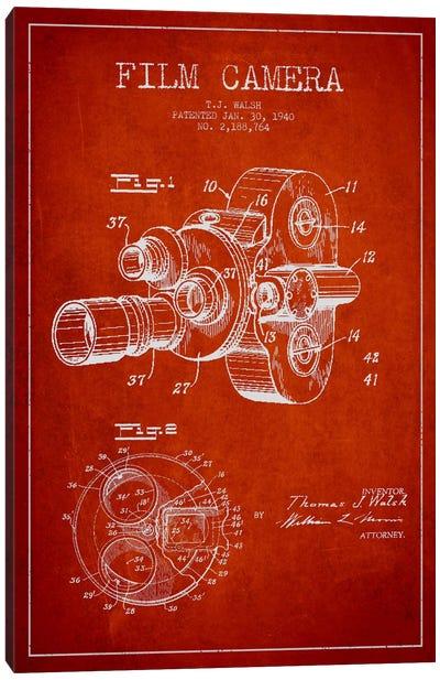 Camera Red Patent Blueprint Canvas Print #ADP404