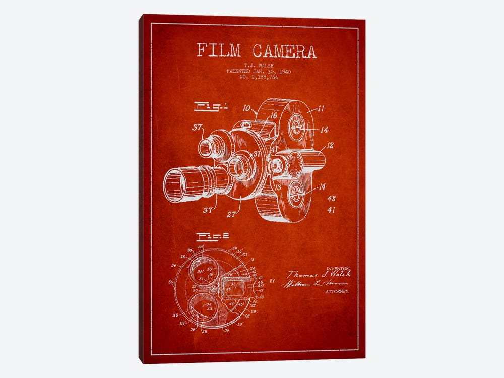 Camera Red Patent Blueprint by Aged Pixel 1-piece Canvas Wall Art