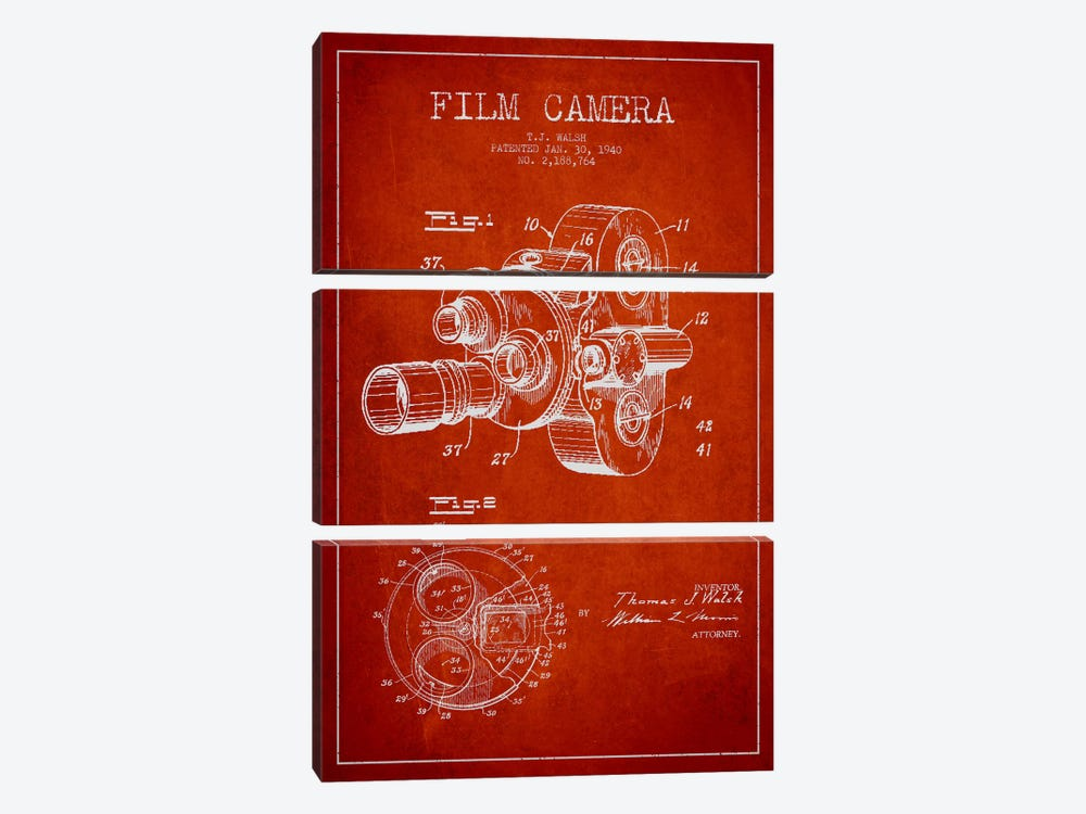 Camera Red Patent Blueprint by Aged Pixel 3-piece Canvas Art