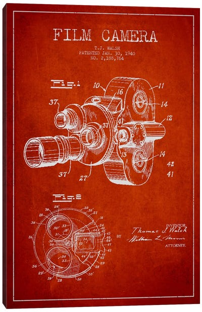 Camera Red Patent Blueprint Canvas Art Print