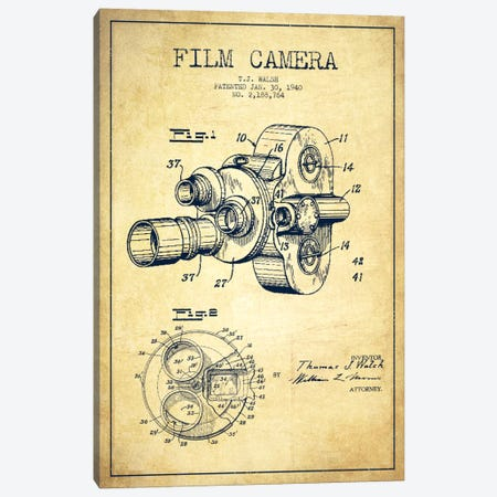 Camera Vintage Patent Blueprint Canvas Print #ADP405} by Aged Pixel Canvas Wall Art