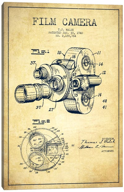 Camera Vintage Patent Blueprint Canvas Art Print