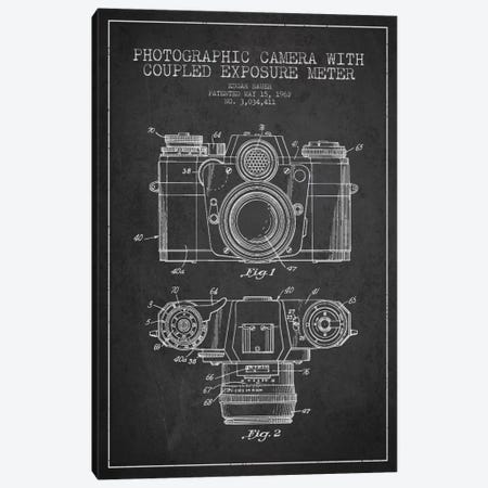 Camera Charcoal Patent Blueprint Canvas Print #ADP406} by Aged Pixel Canvas Wall Art